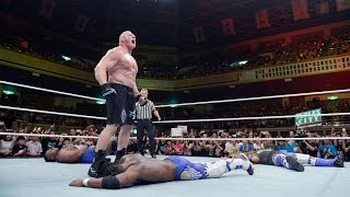 getlinkyoutube.com-WWE Network: Kofi Kingston vs. Brock Lesnar: Brock Lesnar: The Beast in the East, July 4, 2015
