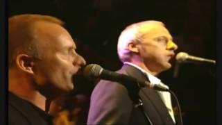 getlinkyoutube.com-Mark Knopfler, Eric Clapton, Sting & Phil Collins - Money for Nothing Live