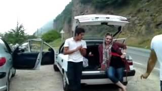 iranian girl is dancing in street/