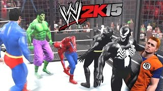 getlinkyoutube.com-WWE 2K15 - Spiderman vs Batman vs Hulk vs Venom vs Superman vs Goku
