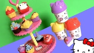 getlinkyoutube.com-Play Doh Hello Kitty Cupcake Tower Dough Plastilina Torre de Pasteles Pastelitos ハローキティ | キャラクター