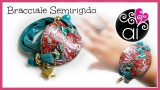getlinkyoutube.com-Bracciale Semirigido Floreale | Polymer Clay Tutorial | Diy Bracelet