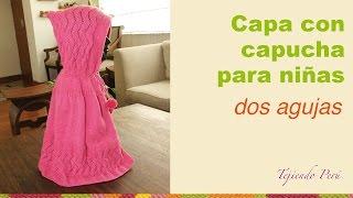 getlinkyoutube.com-Capa con capucha tejida en dos agujas para niñas