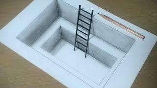 getlinkyoutube.com-【トリックアート】紙に穴を開けてハシゴをかける方法 Trick Art on Paper, Drawing 3D Hole&Ladder