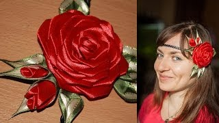 getlinkyoutube.com-Роза Канзаши на Афинке (мастер класс) / DIY Kanzashi Rose