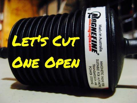 Cutting open Magnefine in line oil transmission filter - Bundys Garage
