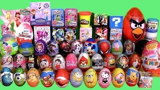 getlinkyoutube.com-Giant 55 SURPRISE EGGS SURPRISE BOXES PlayDoh Frozen MLP Minecraft Cars2 Frozen Mystery Transformers