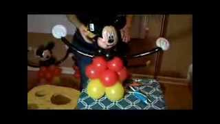 COMO FAZER UM CENTRO DE MESA (CENTERPIECE)  DO MICKEY (DECORAÇÃO COM BALÕES)