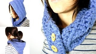 getlinkyoutube.com-Cómo tejer un cuello - capucha de lana a ganchillo / crochet