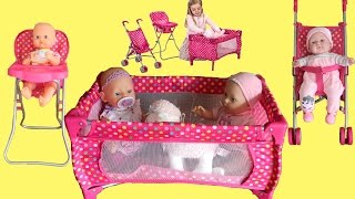 getlinkyoutube.com-Dimples Dolls Nursery Playset Baby Born Baby Annabell Little Girl Baby Dolls Rocking Nursery Rhymes