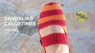 getlinkyoutube.com-Tutorial Sandalias Pantuflas Crochet o Ganchillo en Español