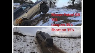 getlinkyoutube.com-Nissan Patrol Y61 4x4 Long and short off road test of wheels both 35's long MT short AT