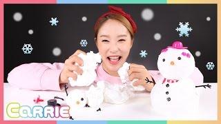 getlinkyoutube.com-하늘에서 따온 스노우 클레이로 캐리의 눈사람 만들기 놀이 CarrieAndToys