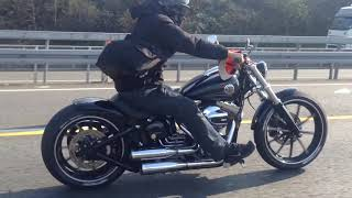 getlinkyoutube.com-Harley Davidson FXSB Breakout on Highway
