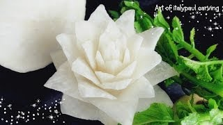 getlinkyoutube.com-Art In White Radish Rose Flower | Vegetable Carving Garnish | Roses Garnish