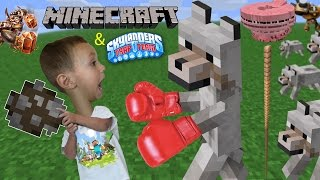 3 Yr Old Chase plays Minecraft! He Fights A Wolf, Crashes Pigs, Jumps to Trap Team & Doesn't Say Bye
