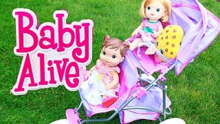 getlinkyoutube.com-Baby Alive Dolls GO ON WALK Double Stroller CRAZY FUSSY Babies Toby Babysitter