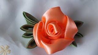getlinkyoutube.com-Цветок из атласных лент за 5  мин просто быстро красиво