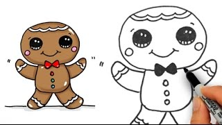 getlinkyoutube.com-How to Draw Cute Gingerbread Man Easy for Beginners