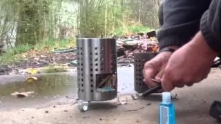 Large Ikea hobo stove build and burn demo