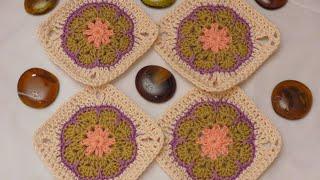 getlinkyoutube.com-كروشيه مربع الوردة الأفريقية | Crochet African Flower Square