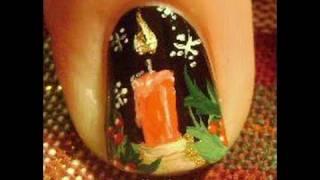 getlinkyoutube.com-1 Nail Art Tutorial   Easy Christmas Candle - Snowflakes - holly - Nails Design