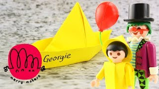 IT Special! How to make Georgie's paper boat Origami for Kids with Playmobil Clown