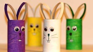 getlinkyoutube.com-Простые поделки для детей. Зайцы из картона.