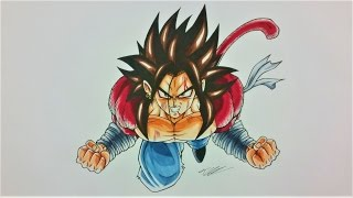 getlinkyoutube.com-Drawing NEW created SAIYAN as SUPER SAIYAN 4 | BANASES | TolgArt