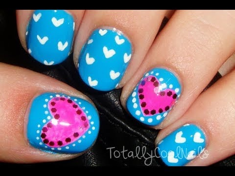 Simple Pink and Blue Valentine's Day Nails (Short Nails)