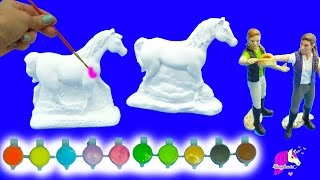 getlinkyoutube.com-Painting Plaster Rainbow Fantasy + Appaloosa Horses For 2 Schleich Girls - Craft DIY Video