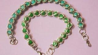 getlinkyoutube.com-Pulsera con anillas y bolitas preciosa. DIY