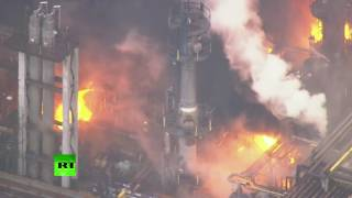 AERIAL FOOTAGE: Massive fire breaks out at Japanese petrolium plant