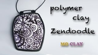 getlinkyoutube.com-Polymer clay tutorial Zentangle Pendant - Design transfer- Arcillas polimericas