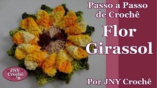 getlinkyoutube.com-Passo a Passo Flor de Crochê Girassol por JNY Crochê