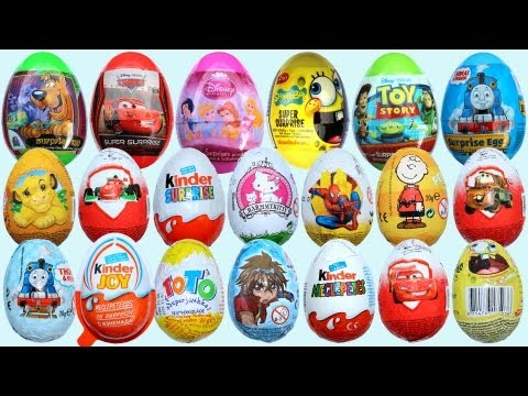 20 Surprise Eggs, Kinder Surprise Cars 2 Thomas Spongebob Di