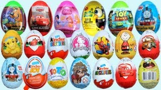 getlinkyoutube.com-20 Surprise Eggs, Kinder Surprise Cars 2 Thomas Spongebob Disney Pixar