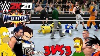WRESTLEMANIA 33: TEAM EddyLogan VS TEAM John Cena - (Flanders and Goku VS Homero and Vegeta)
