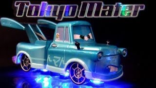 getlinkyoutube.com-Tokyo Mater with Flames Metallic Finish Comic-Con SDCC Disney Pixar Cars 2 toy review Blucollection