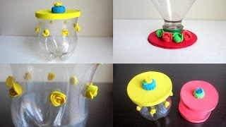 getlinkyoutube.com-DIY: Storage Jars & Lids  - Recycling Plastic Bottles