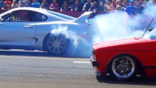 getlinkyoutube.com-VW GOLF 1 I Drag Racer VS TOYOTA SUPRA Turbo - 1/4 Mile Race Viertelmeile Rennen BURNOUT Rotorrabbit