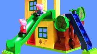 getlinkyoutube.com-Peppa Pig Playhouse Lego Blocks Playground Park with See-Saw & Slide House Set by DisneyCollector