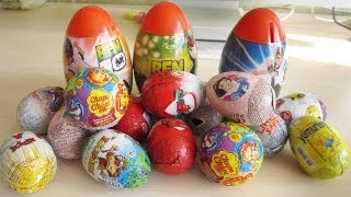 getlinkyoutube.com-17 surprise eggs MEGA unboxing! Chupa Chups, Disney Cars, Princess, Ben 10 and many more!