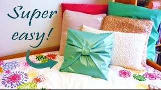 getlinkyoutube.com-DIY ROOM DECOR ❤ No-sew bow PILLOW COVER