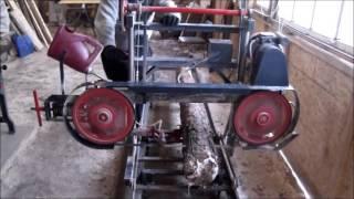 getlinkyoutube.com-Homemade band sawmill work from beginning to end!