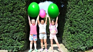 getlinkyoutube.com-Giant Egg Hunt In A Maze - Huge Surprise Eggs Toy Challenge - Disney Toys Surprises