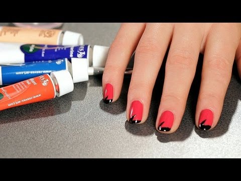 How to Do a Lightning Bolt Design with Tape | Nail Art