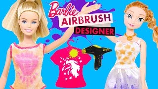 Barbie AIR BRUSH Designer Painting Barbie Doll Clothes with Disney Frozen Princess Anna