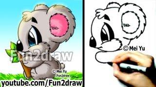 getlinkyoutube.com-How to Draw Cartoon Animals : How to Draw a Koala - Drawing Step by Step - Learn to Draw - Fun2draw