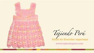 getlinkyoutube.com-Vestido para bebita de 0 a 3 meses tejido en crochet (Parte 2: falda)